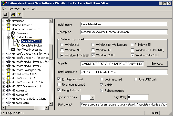 Software Distribution allows for network setup distribution with any normal MSI or other installer-based application, while offering the possibility of running these setups silently.